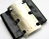 Wide Textured Metal and Black Leather Cuff (B738)