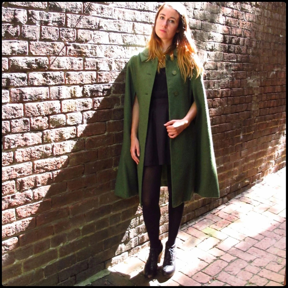 60s Vintage Green Wool Cape