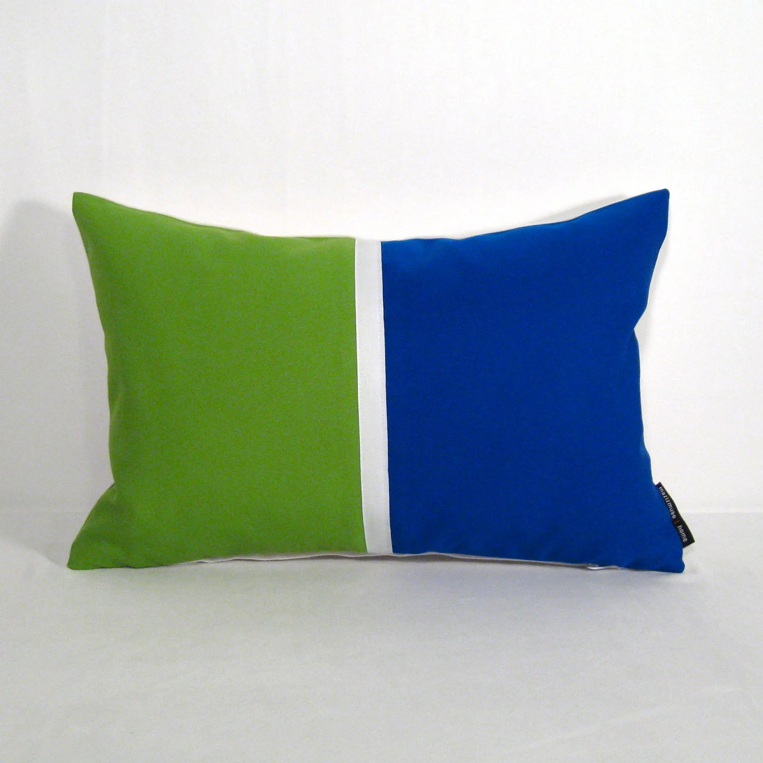 Color Block Pillow Cover - Decorative Outdoor Cushion - Modern Colorblock - Pop Art - Blue Green - Lime Cobalt - Sunbrella 12 X 18 inch - Mazizmuse