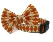 Pumpkin Argyle Dog Collar and Bow Tie Set - BigpawCollars