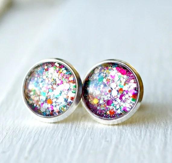 firecracker silver plated post earrings