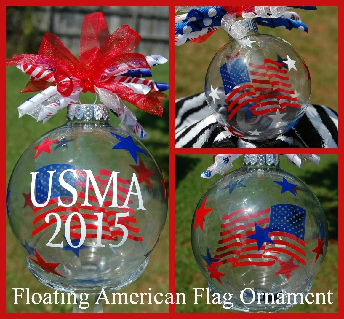Floating American Flag Ornament - Personalized - Small