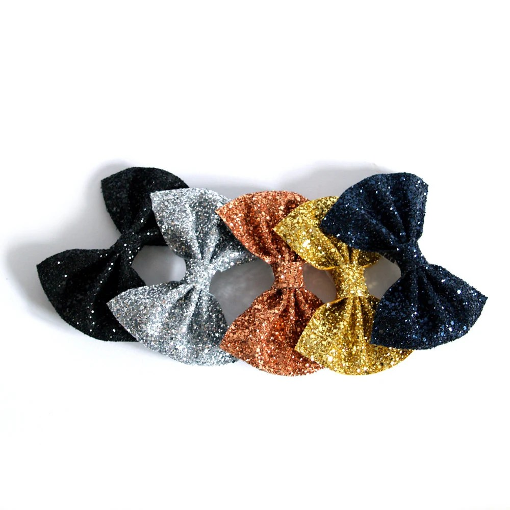 Medium Glitter Hair Bow - Metallics - crownandglory