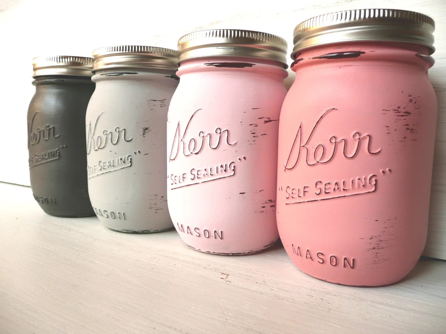Valentine's Day Home, Dorm or Office Decor - Painted Mason Jars - Vases - Preppy Pink - BeachBlues