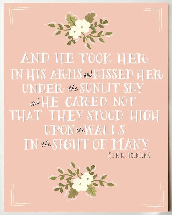 J.R.R. Tolkien Romantic Quote Print 11 x 14