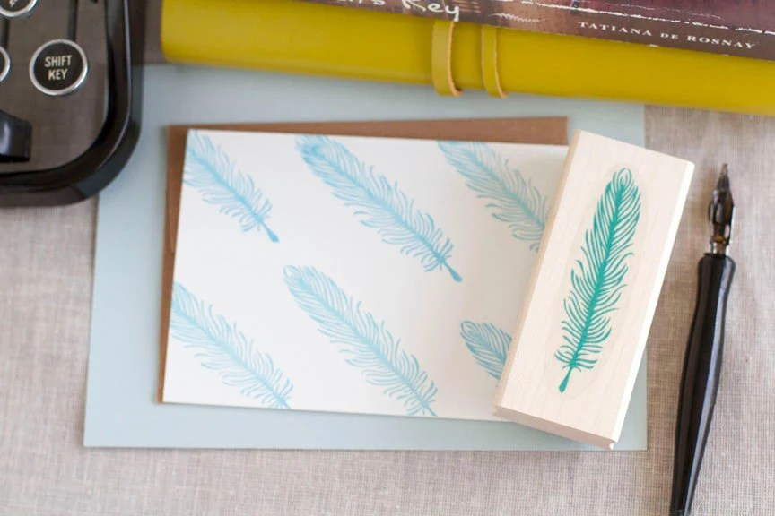 Bird Feather Quill Rubber Stamp Handcrafted & Wood Mounted - Great for Wedding Projects Favors Scrapbooking and Personalized Stationery