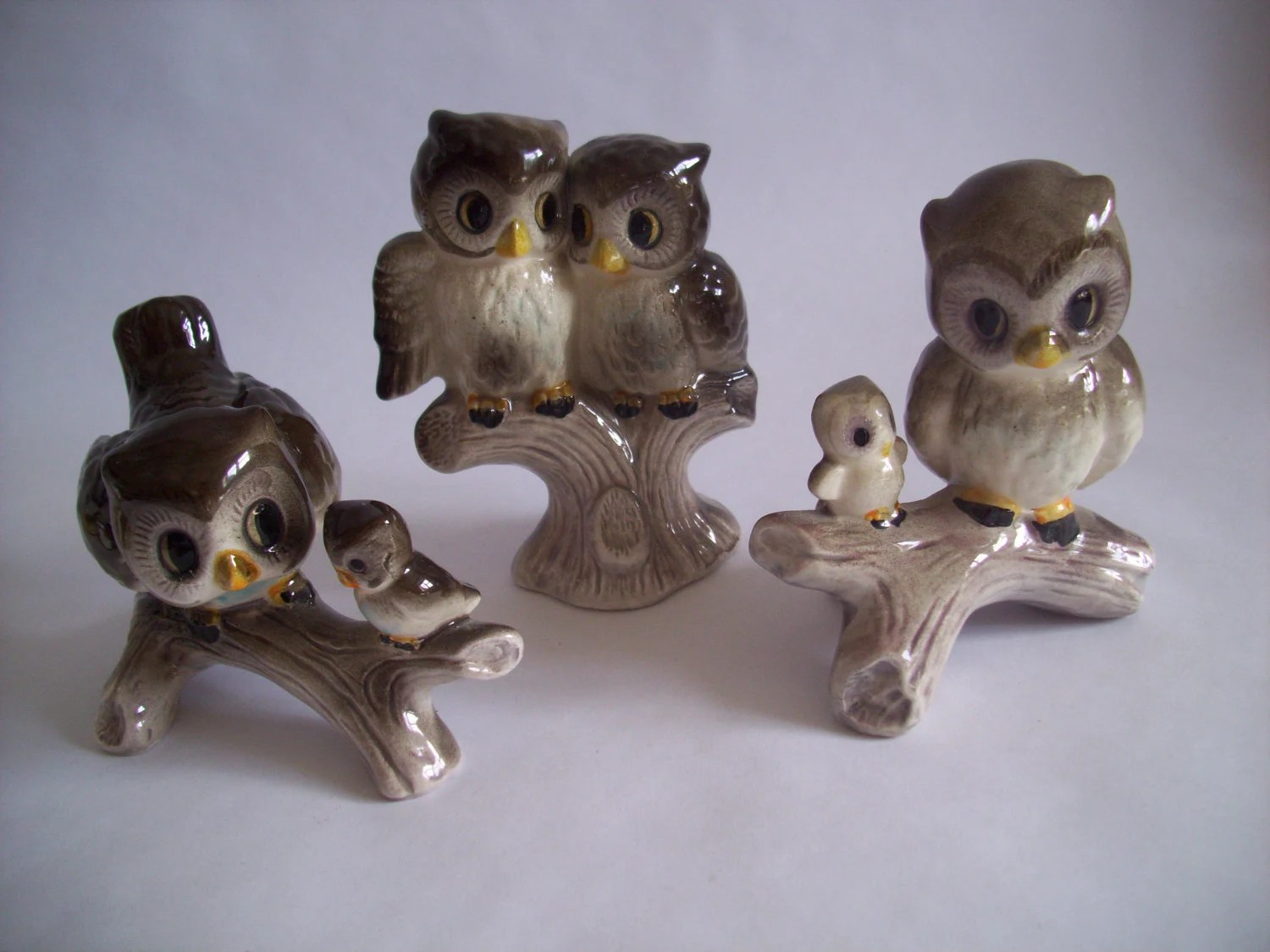 Vintage Trio of Kitsch Cute Brown and Grey Owl & Owlet Family Ornaments Figures
