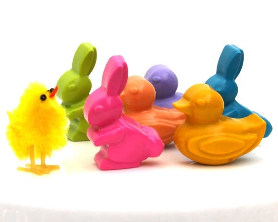 Kids' EASTER BASKET CRAYONS Toys - Spring Bunny Rabbit & Baby Duck Coloring Party Favors - Set of Six (6) - Eco-Friendly - Free Gift Box