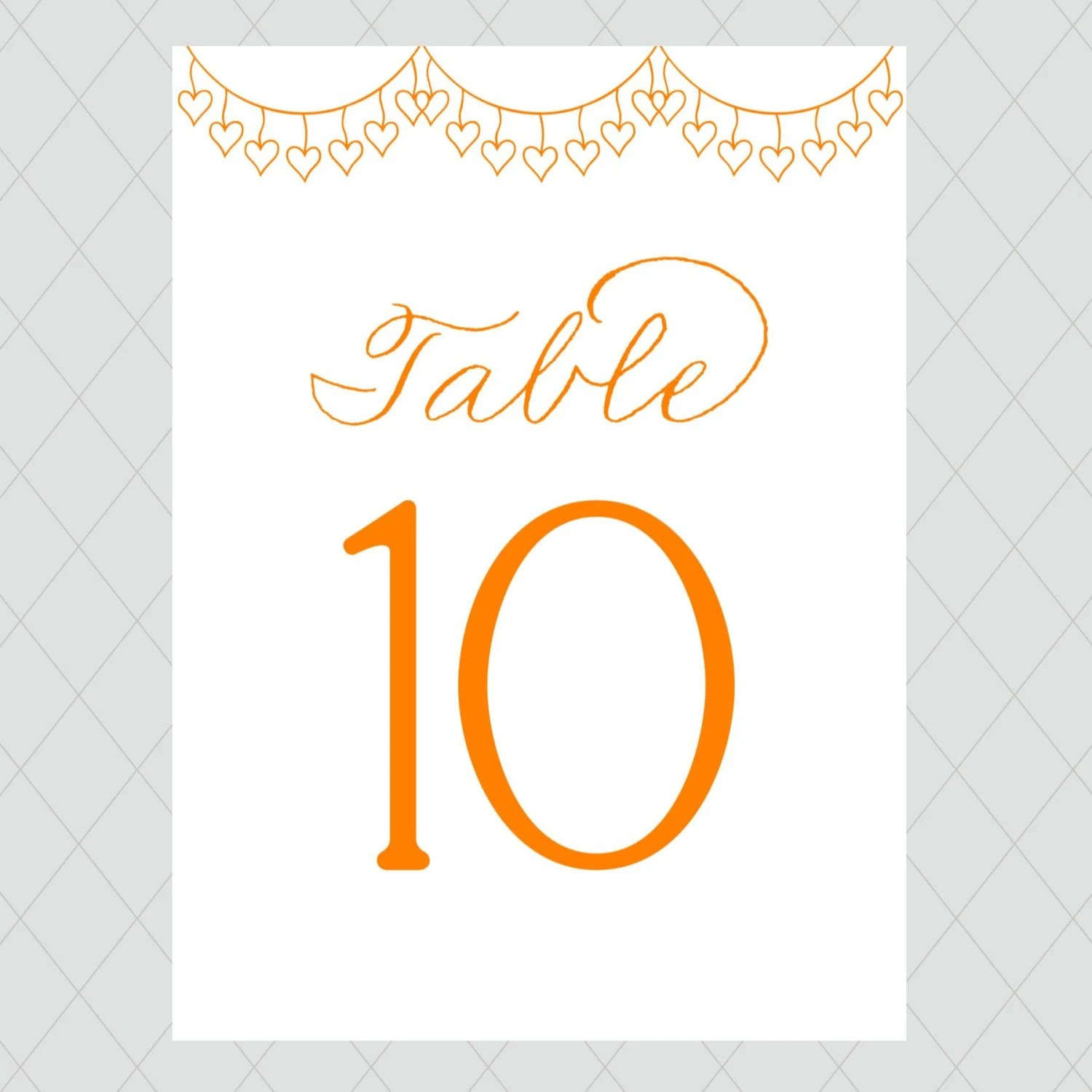 Festive Orange Wedding Table Numbers