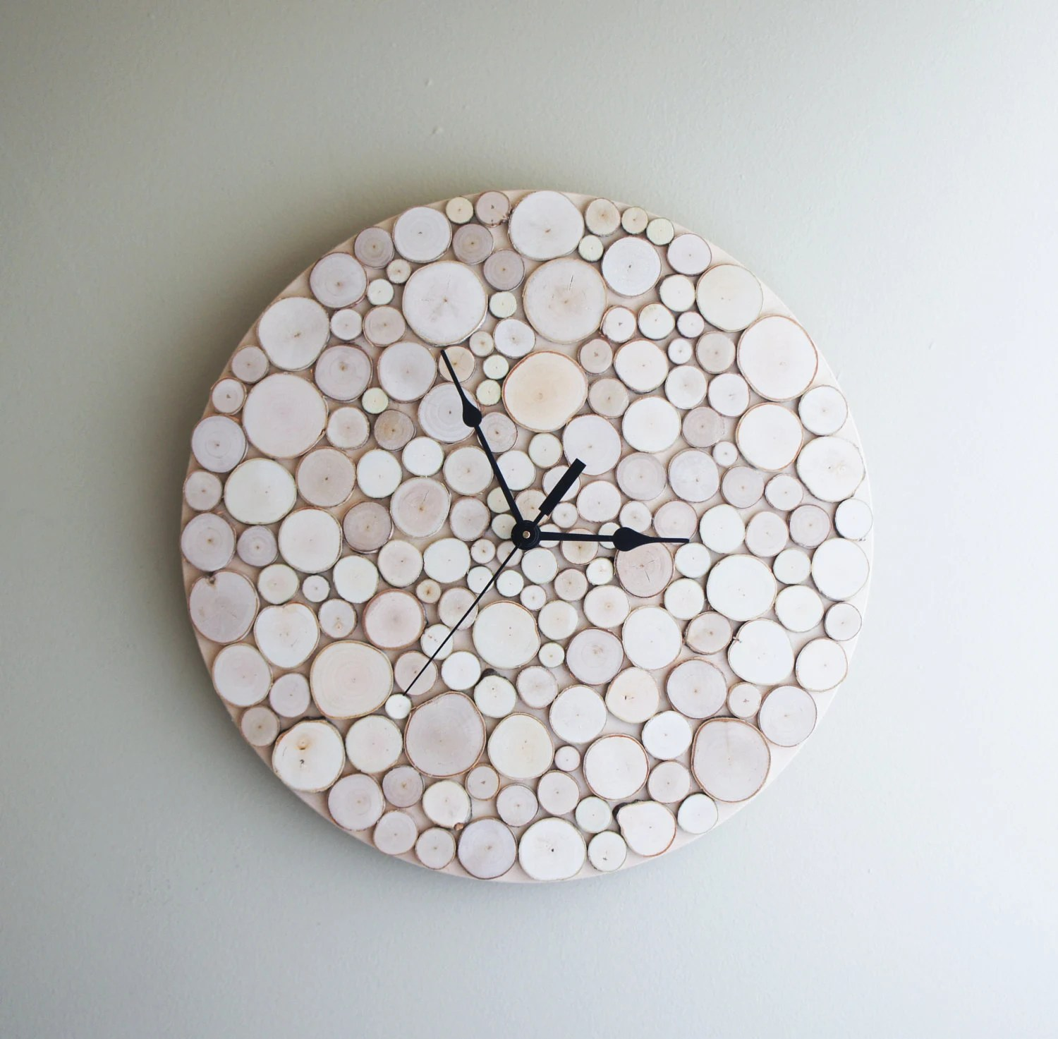 natural white birch forest wood clock (Large)  - made to order - urbanplusforest