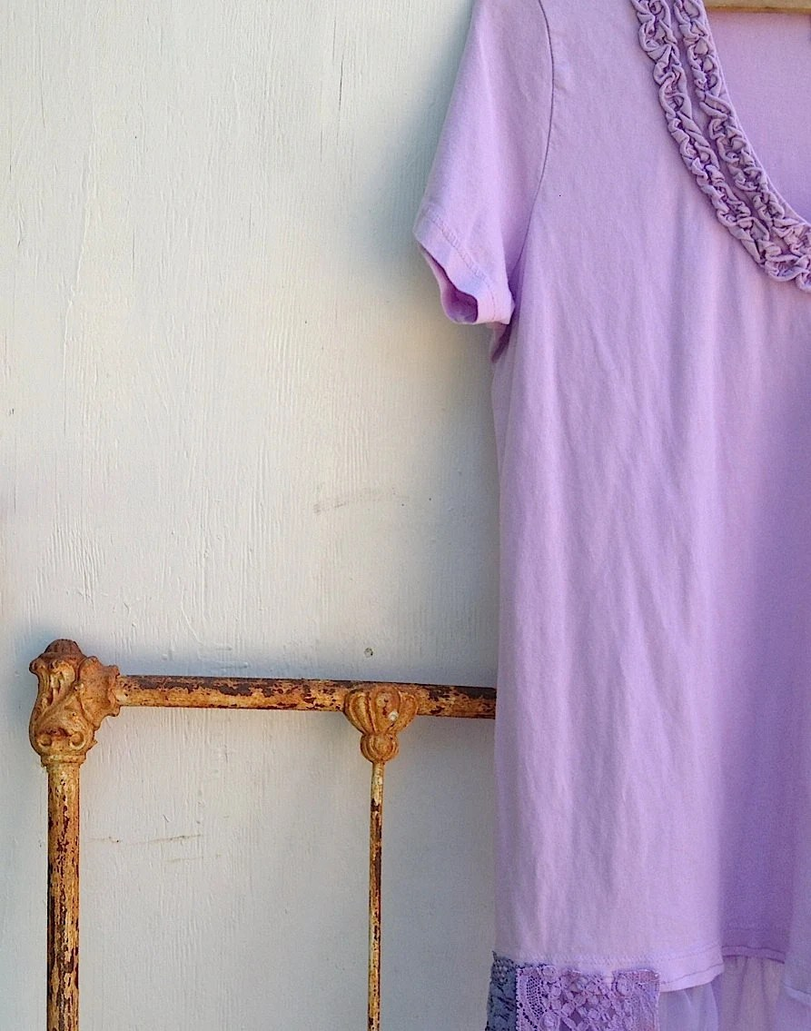 sweet lilac lavender purple rustic soft boho funky shabby upcycled polo ralph lauren ruffles voile lace dyed tunic dress - kateblossom