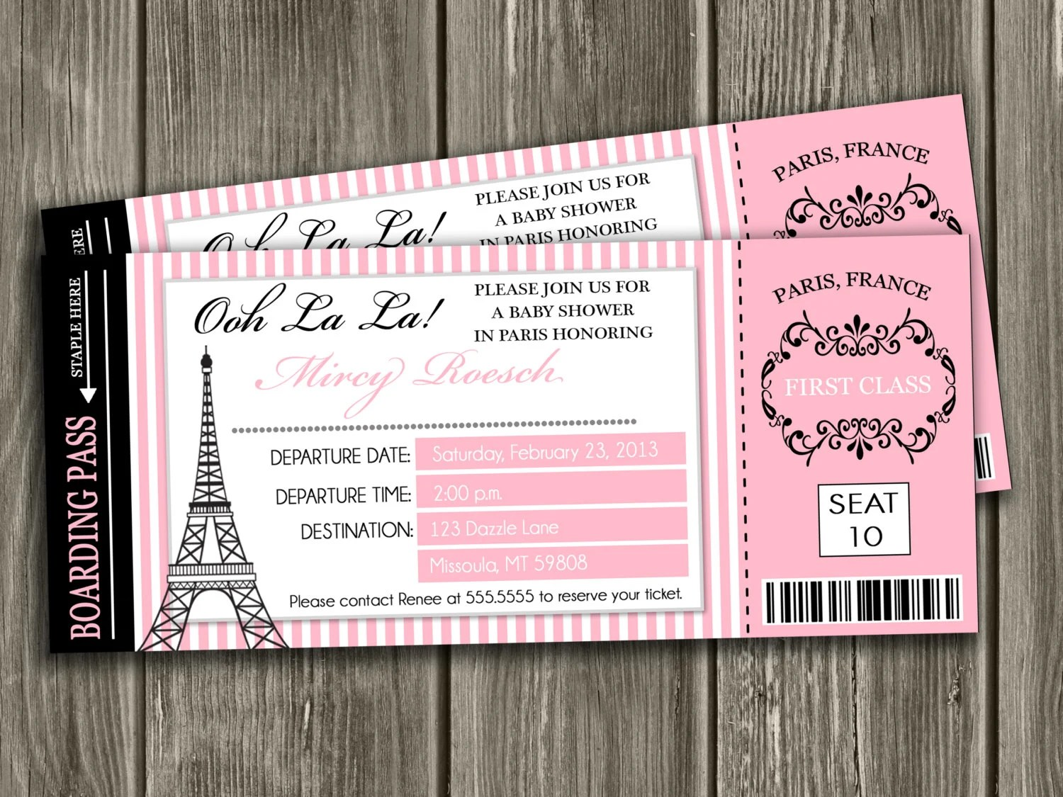 Paris Boarding Pass Baby Shower Invitation - FREE thank you card included