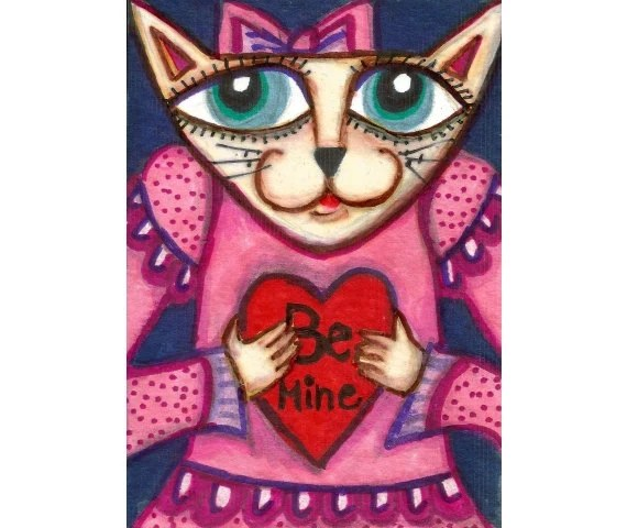 Goth Valentine Cat, Pink Whimsical Cat Print, Girls Room Decor, 8 x 10 by Paula DiLeo - AGirlAnOwlAndACat