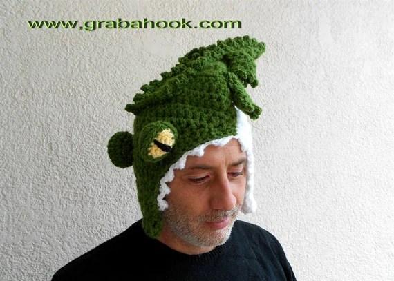 Funny Crocodile hat Eating your Head-Crochet pattern