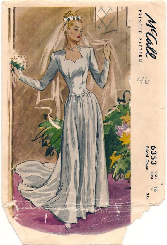 1940s bridal pattern - McCall 6353