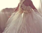 Flower Girl Dress Lace and Tulle Tutu Crochet Bodice Satin Sash Vintage Ivory Infant to Toddler Size 4 - KingSoleil