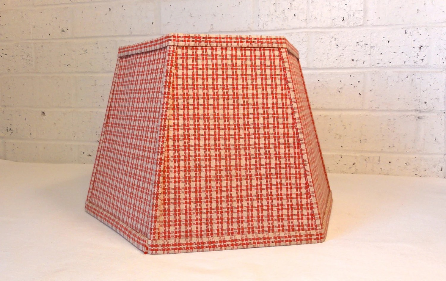 Vintage Red Plaid Lamp Shade / hexagonal shade - Bluebell