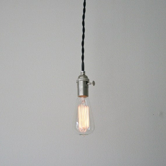 Minimalist Cloth-Covered Hanging Pendant Lamp - Black and Silver