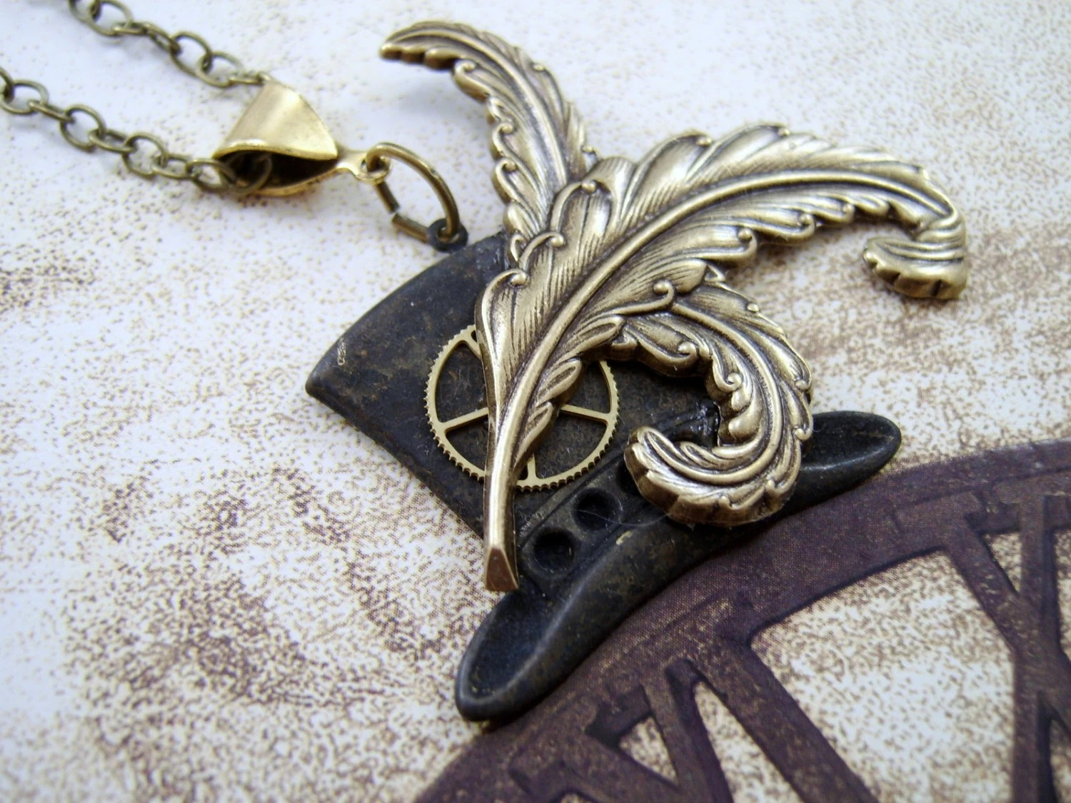 Steampunk Top Hat Necklace, Gear, Plume