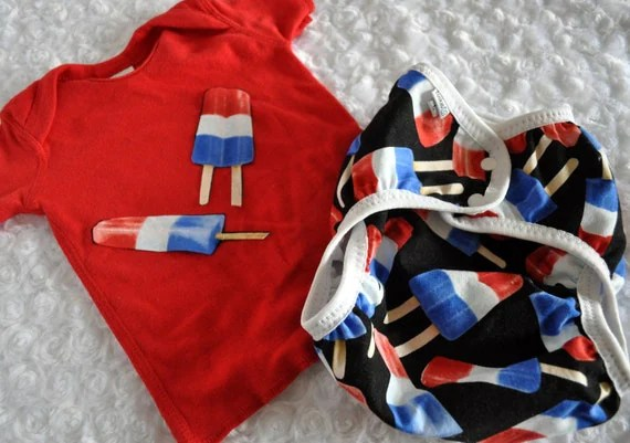 Cloth diaper cover and matching embellished tee - patriotic pops