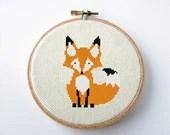 Fox Cross Stitch Pattern PDF Digital Needlepoint Instant Download - MidCenturyMaude