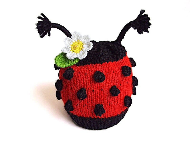 Baby hat Ladybug knitted / size 12-24M - MiaPiccina