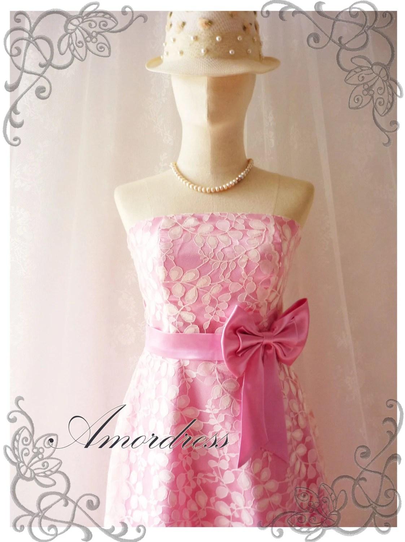 Princess Romance - Pink Lace Dress Party Prom Bridesmaid Wedding Cocktail Dinner Evening Dress -S-M- - Amordress