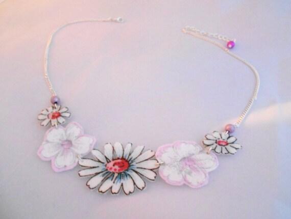 Felt Flower Collar Necklace Silver Daisy Necklace