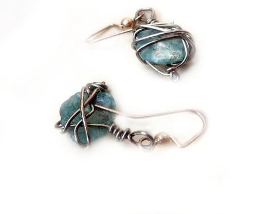 Aqua Blue Sea Glass Wire Wrapped Dangle Earrings - Silver Wire