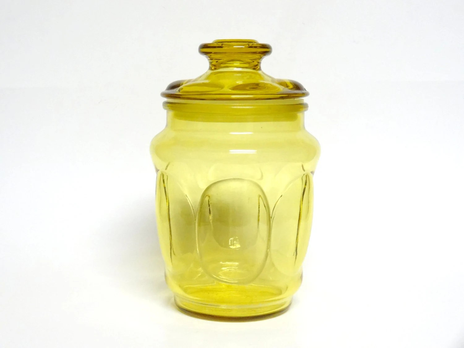 Vintage Amber Yellow Glass Canister, mid century storage, retro, - NewfoundFinds