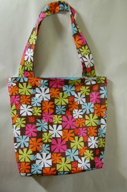 Reversible Cotton Tote Art Deco Retro Tote Portion of Proceeds to Charity