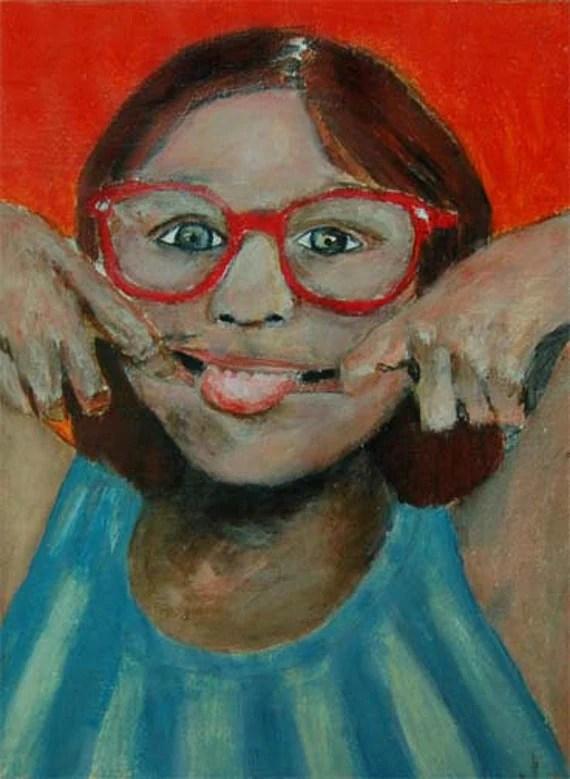 Acrylic Portrait Painting Neener Neener Sassy Little Girl, Sticking Tongue Out Original Contemporary Orange, Cute, Bratty, Humorous