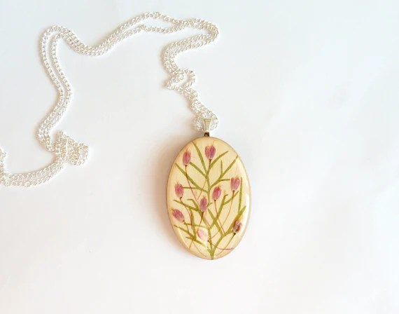 Real flower necklace, spring necklace, pink green necklace, dried pressed flowers in resin, real flowers and wood, eco friendly necklace