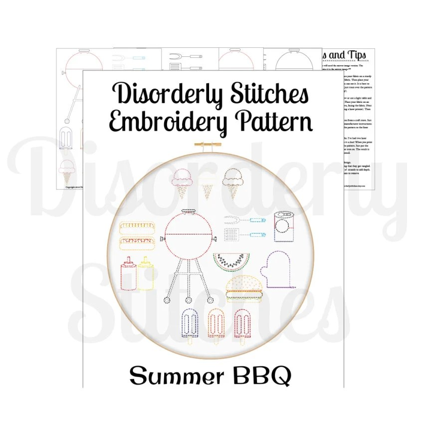 Summer BBQ Set Hand Embroidery PDF Pattern Instant Download