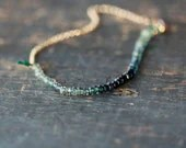 Ocean Sapphire Array Bracelet Premium Gemstone Ombre Blue Teal Green Handmade Jewelry - ShopClementine