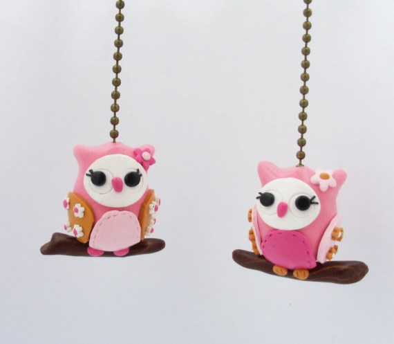 ONE owl fan pull - Your choice of color combination - Pinks, gold, white - Thimbletowne