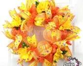 Deco Mesh Spring Summer Wreath Slim Screen Door Orange Yellow Door Wreath - SouthernCharmWreaths