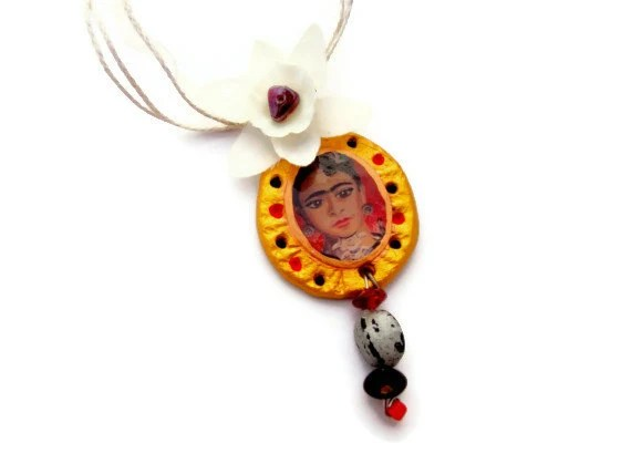Frida Kahlo Victorian gothic polymer clay necklace - TaraWhiteStudio