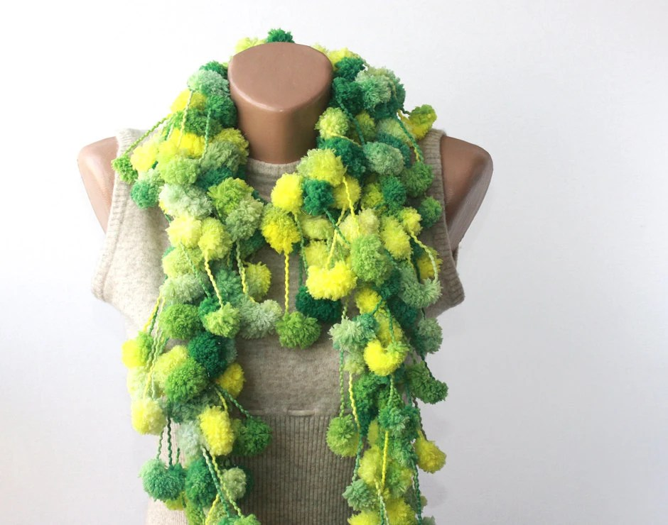 WINTER SALE Neon scarf - chunky scarf - crochet pompom scarf - lime green yellow emerald green - cocoon scarf - violasboutique