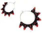 Red and Black Diamond Beaded Hoop Earrings - MegansBeadedDesigns