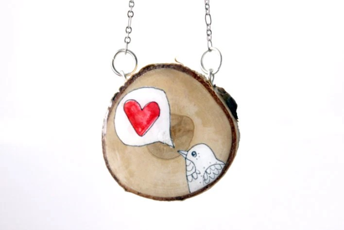 valentines bird wood slice necklace- hand painted wood slice necklace