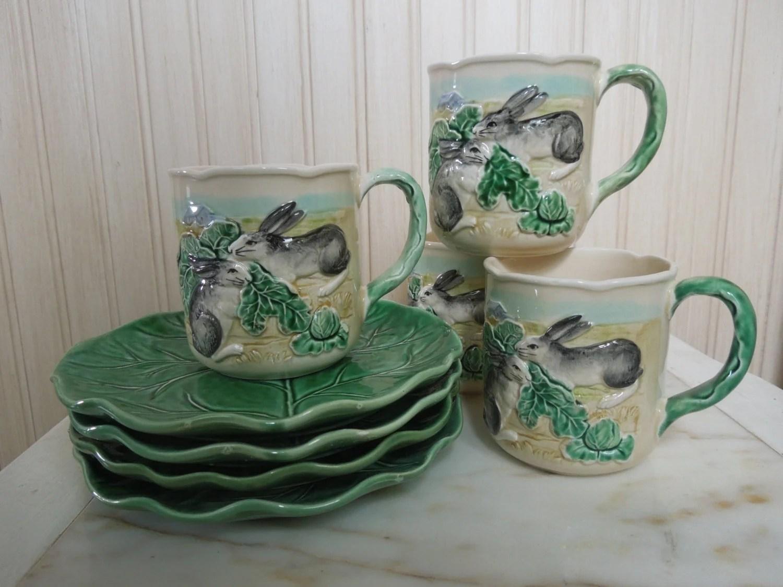 Vintage Majolica Bunny Rabbit Cup and Saucer Set Haldon Group Majolica Pottery