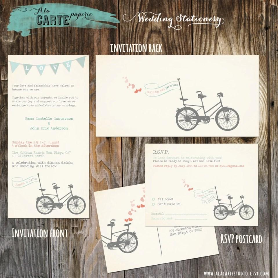 Tandem Bike Wedding Invitation Suite - Invitation and RSVP