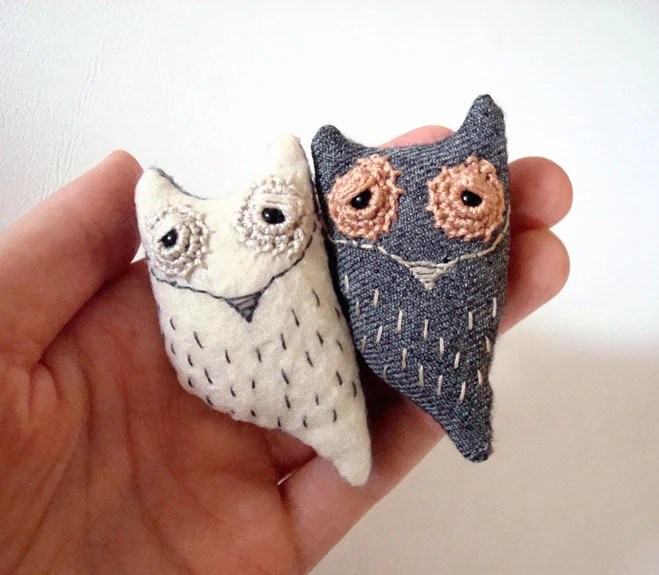 Soft Sculpture Miniature Owl Spirit Creature Upcycled Pocket Owl Totem