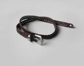 Vintage braided brown leather belt, skinny genuine leather belt, 70s - plot