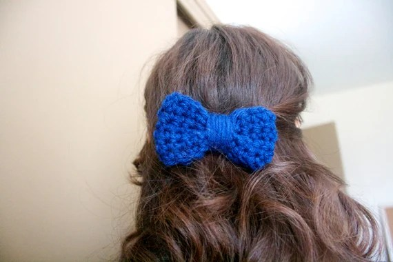 Handmade - Chunky Crochet Hair Bow - Royal Blue - Clip