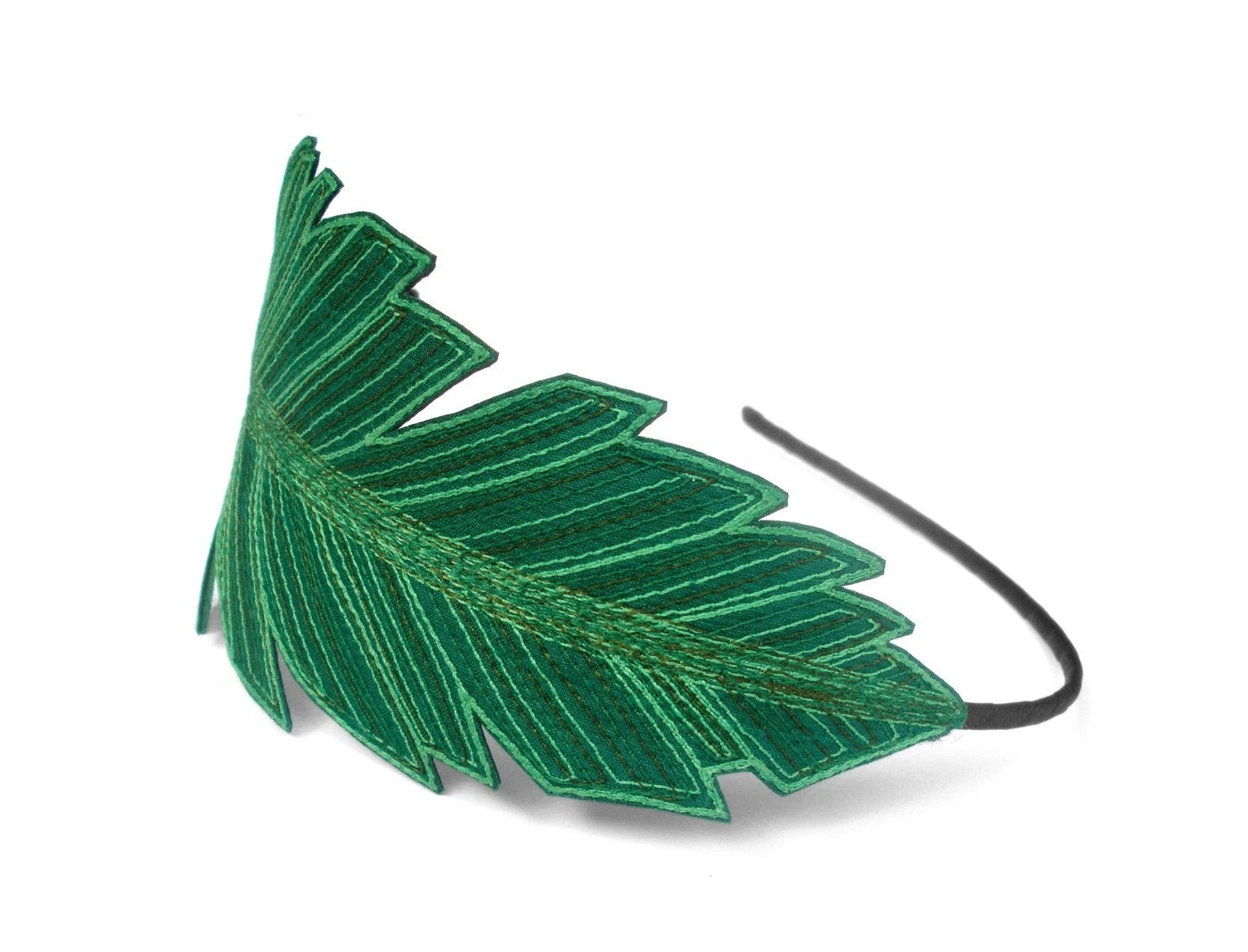 Feather Headband- Emerald Green with Mint Leaf Green, Emerald, and Dark Sage Embroidery - TheFaerieMarket
