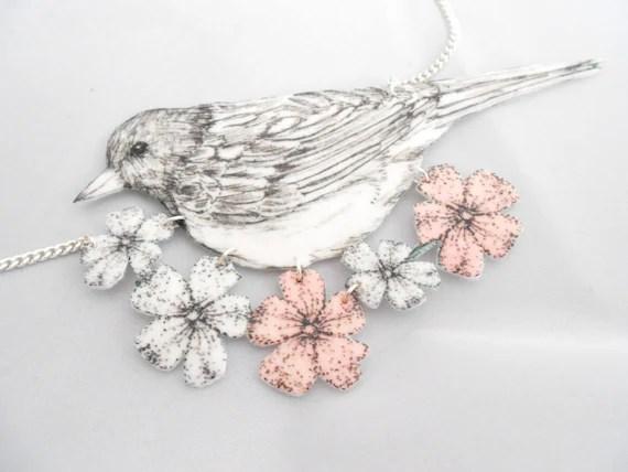 Bird Collar Necklace Felt Flower Necklace