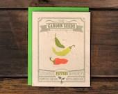 Pepper Seeded Letterpress Greeting Card - Vegetable Garden Plantable Eco Stationery - ruffhouseart