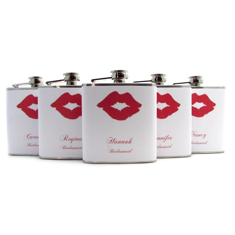 Bridesmaids Lips Flasks for Wedding Favors Women Maid of Honor 6oz and 8oz Sizes
